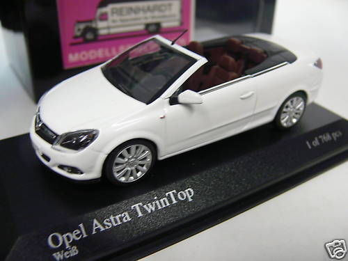 modellspielwaren reinhardt 1 43 minichamps opel astra twin top 2006 weiss. Black Bedroom Furniture Sets. Home Design Ideas