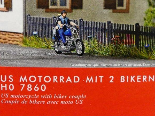 1//87 Busch Bausatz Motorrad mit 2 Bikern 7860