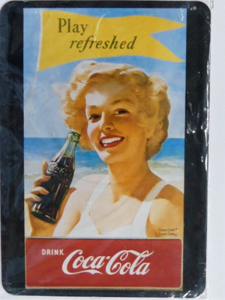 Blechschild Coca-Cola Play refreshed 10 x 14 cm