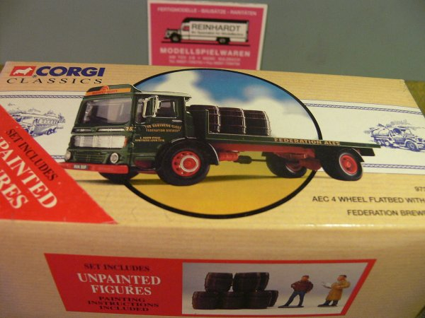 1/50 Corgi AEC 4 Wheel Flatbed with Barrels Federation Brewery GB 97370