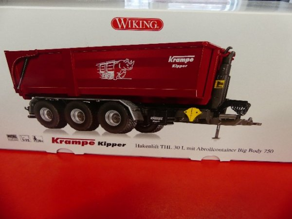 1/32 Wiking Krampe Hakenlift THL 30 L mit Abrollcontainer Big Body 750 0778 26